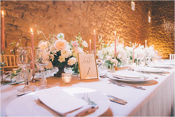 Dinner table at Elegant French Chateau Wedding