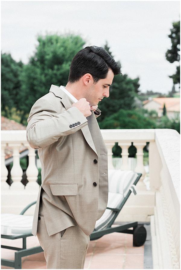 Groom Preparaing for his French Destination Wedding