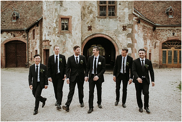Groom and his entourage for his Wedding in Alsace