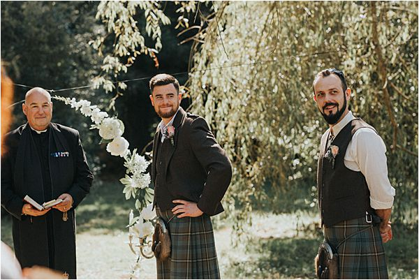 Groom waiting for the bride at Scottish wedding in France