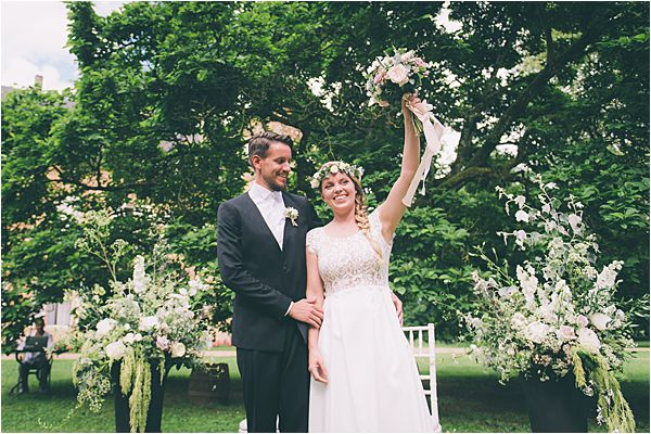 Happy couple at Elegant French Chateau Wedding