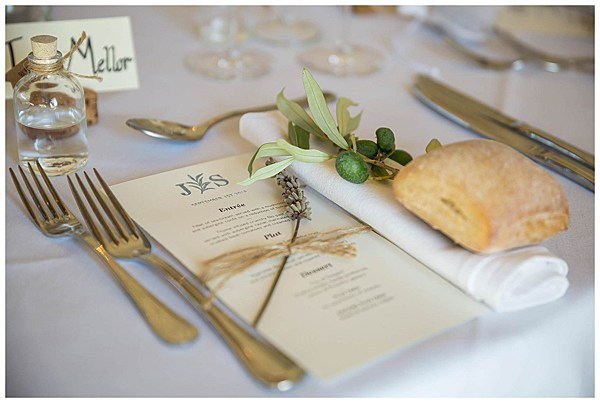 Place setting for a Wedding in Languedoc Rousillion