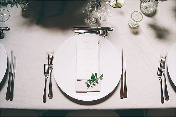 Table setting at Elegant French Chateau Wedding