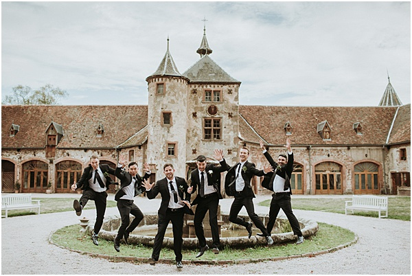 Wedding in Alsace Groomsmen jumping