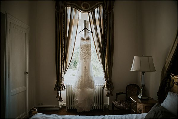 bride's dress at Chateau de la Valouze