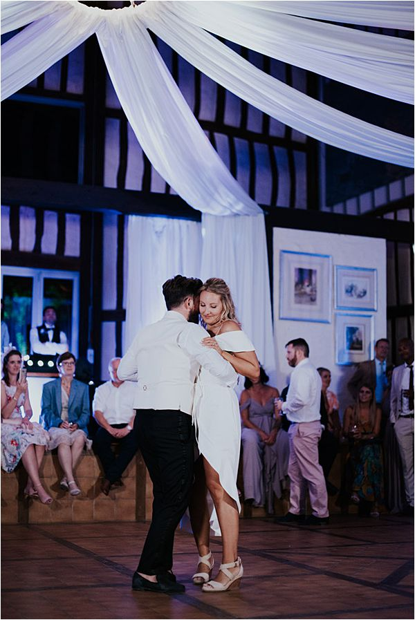couple's first dance at Chateau de la Valouze