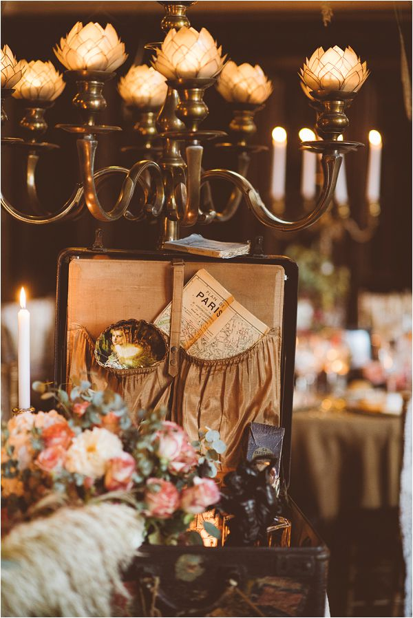 luxury vintage travel style wedding decor for a castle by Janis Ratnieks Photography