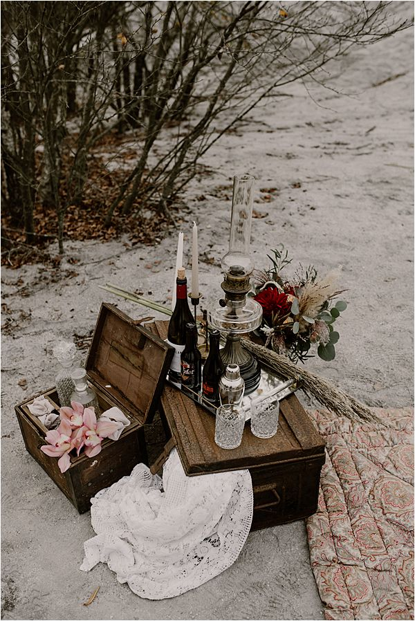 old chest used as table at international wedding photography
