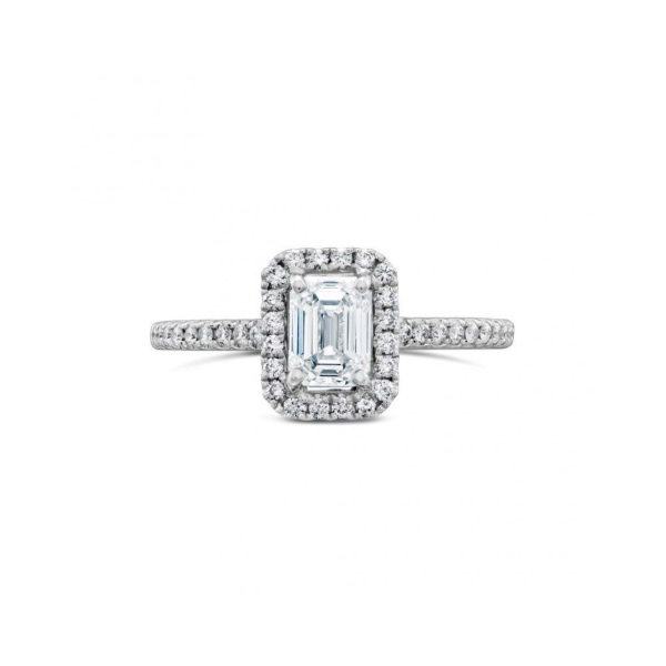 18ct White Gold Emerald Cut Diamond Halo