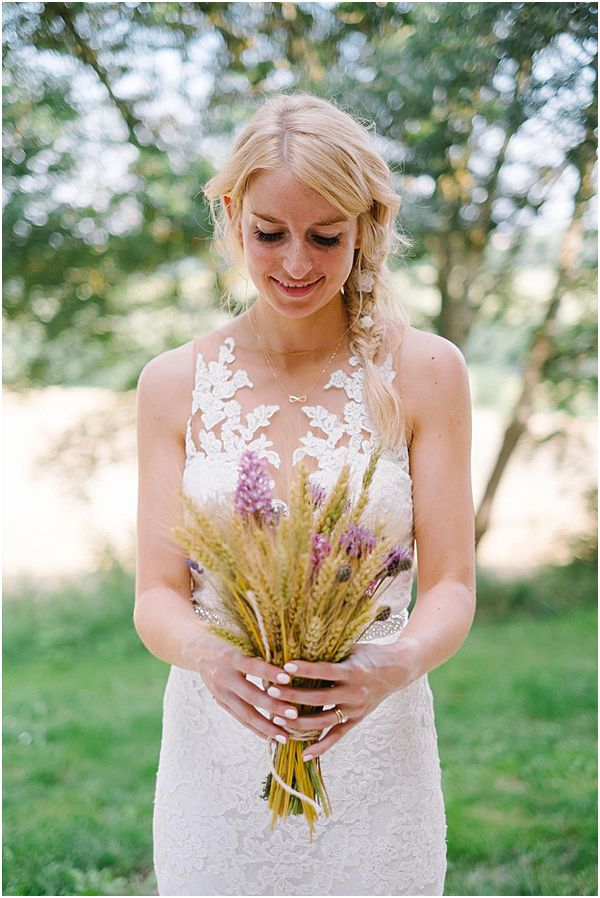 Bride with Rustic Dried Bouquet
