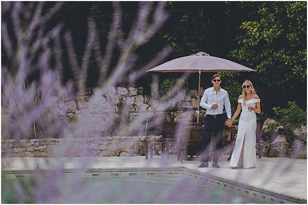 Couple with Swimming Pool Wedding