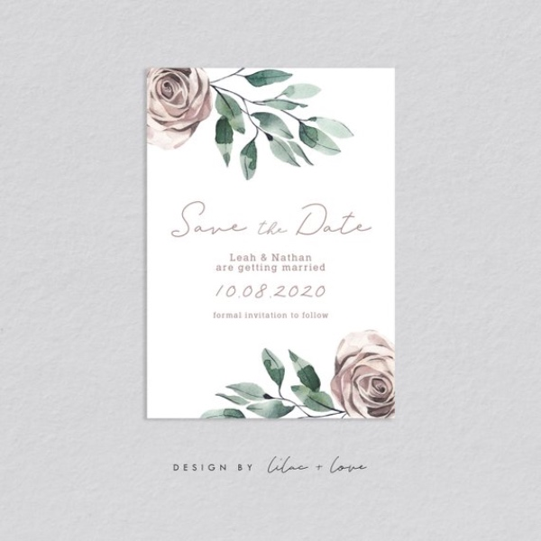 Dusky Pink Floral Save the Date