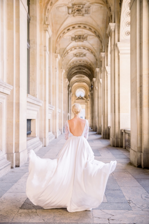 Elegant Paris Bride running
