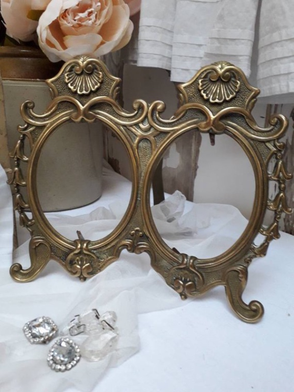 French Double Brass Photo Frame