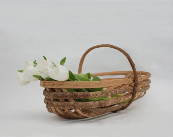 French Farmhouse Rustic Wooden Basket