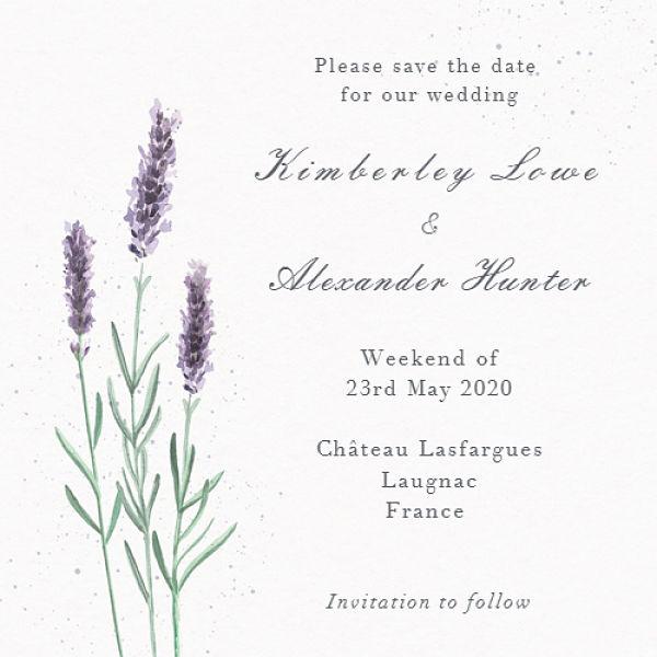 French lavender wedding invitation
