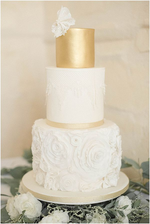 Gold Lace Floral Wedding Cake