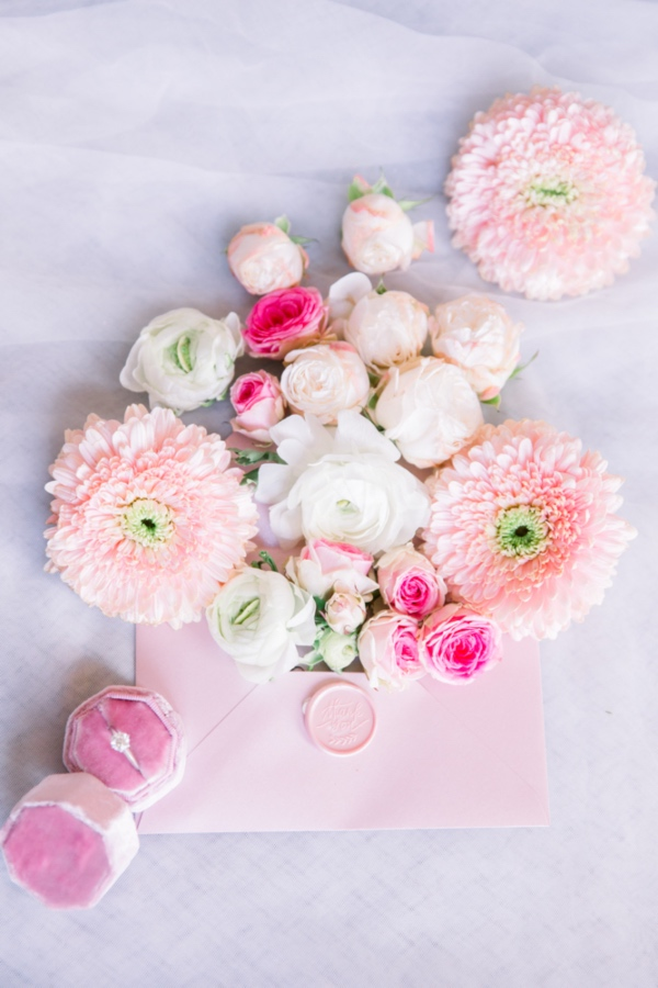 Pink Floral Stationery Flat Lay