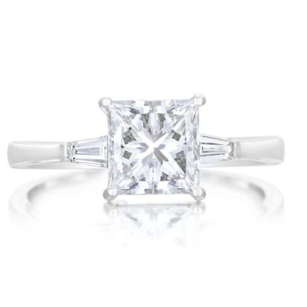 Platinum 1.70ct Princess and Baguette Diamond Ring