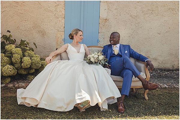 Relaxed Rustic France Wedding Couple White Sofa