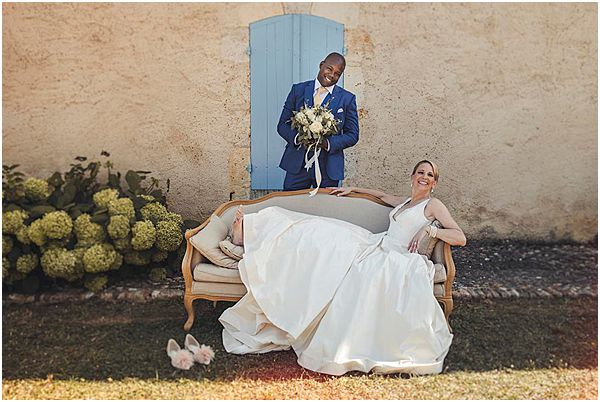 Relaxed Rustic Seated Couple White Couch Vineyard