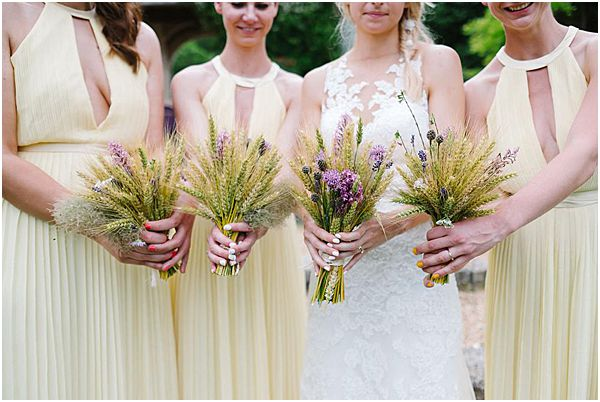 Rustic Dried Wheat Bridesmaid Bouquets