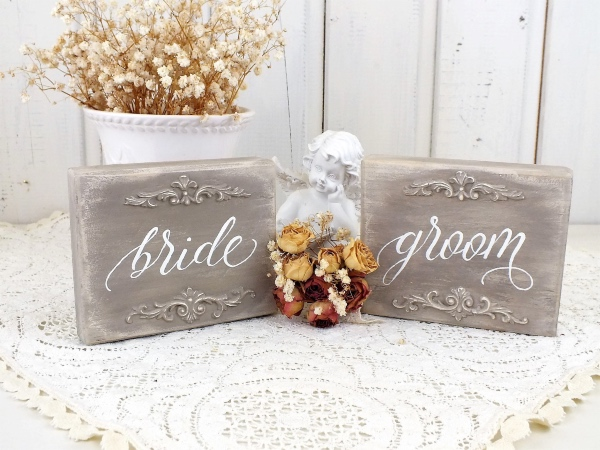 Rustic French Bride and Groom Signs