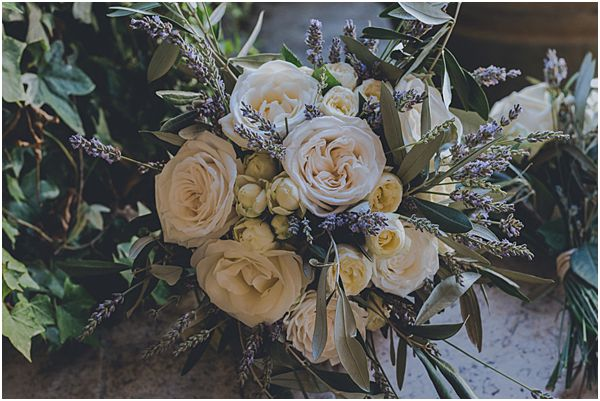 Rustic White Rose Bouquet with Lavender