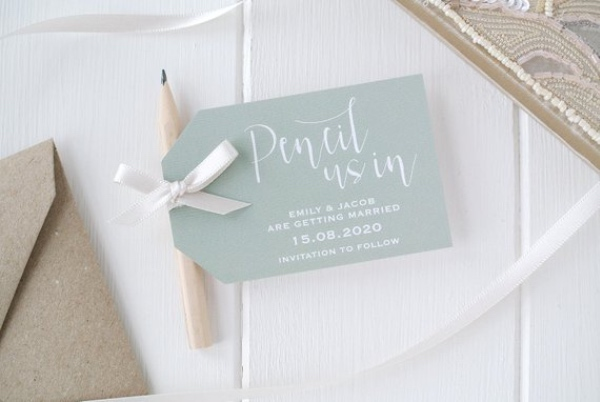 Sage Green Pencil Save The Date