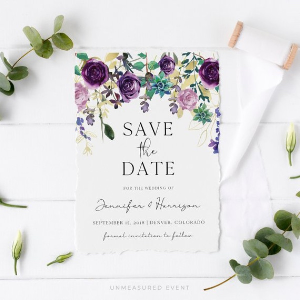 Succulent Botanical Purple Save The Date