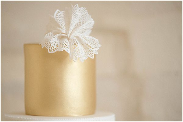 Sugar Icing Gold Wedding Cake