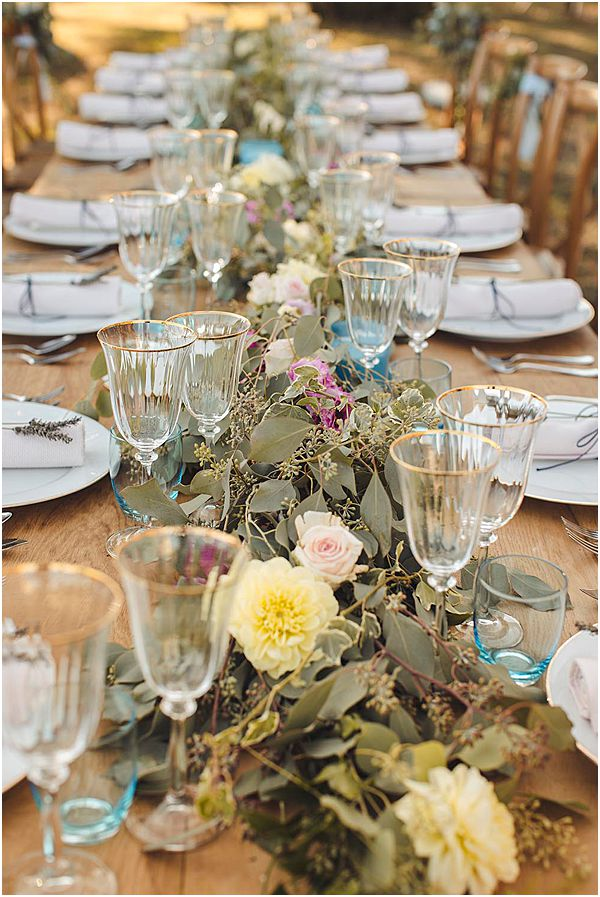 Yellow and Green Foliage Table Decor