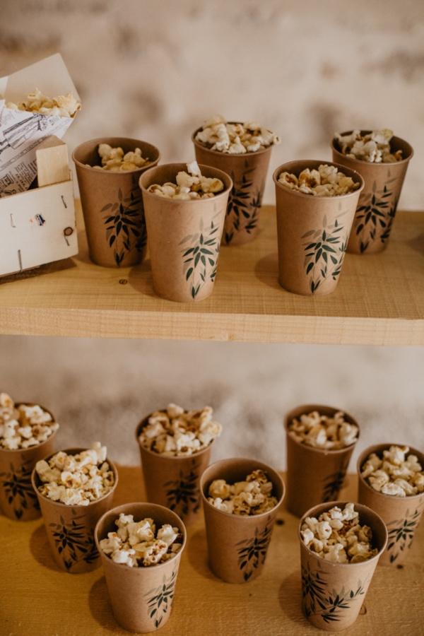 confetti in rustic cups