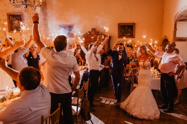 sparklers toast wedding