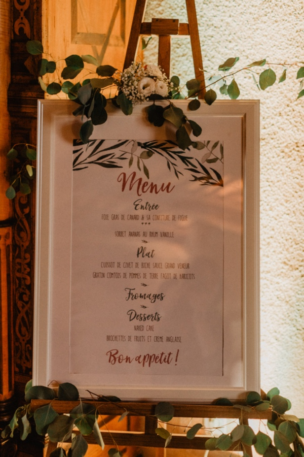wedding menu on easel