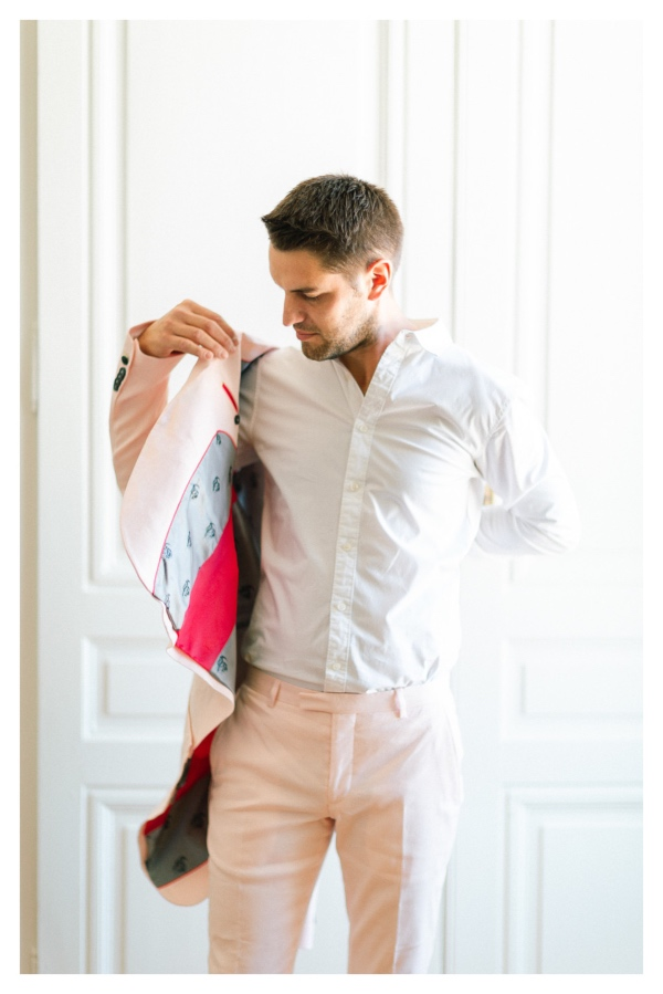Salmon Pink Groom Suit