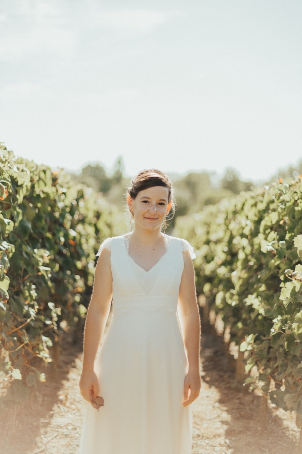 bride in french vineyard