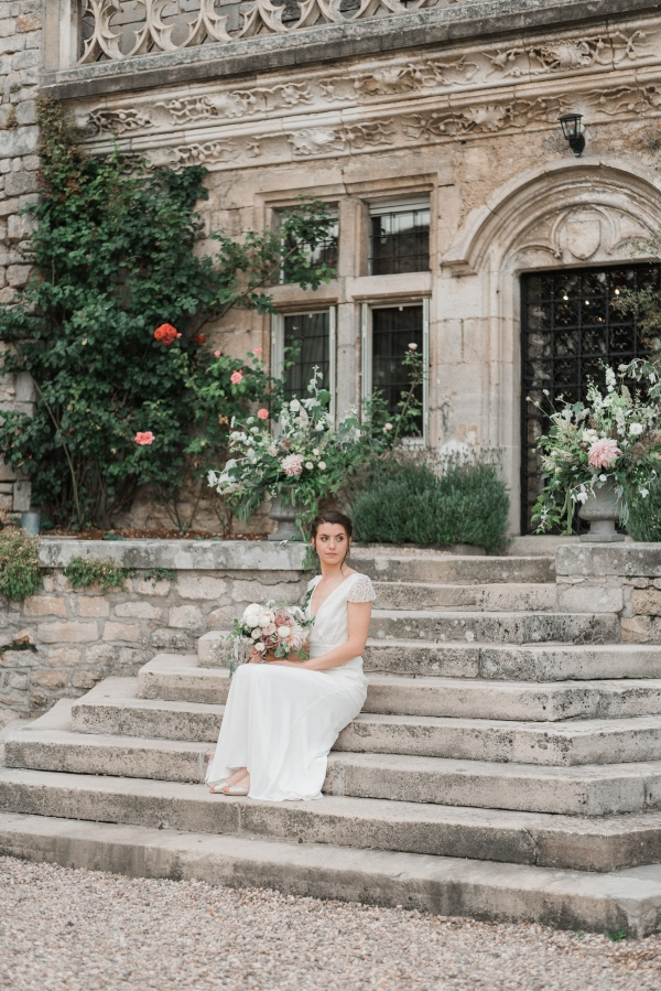 elegant bride on steps