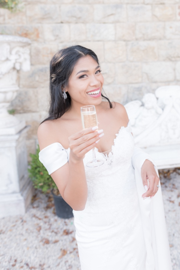 elegant bride with prosecco