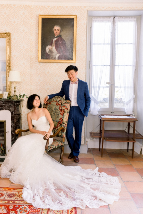 elegant wedding couple france