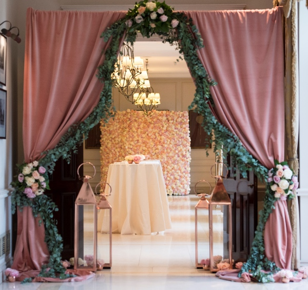 eucalyptus pink floral installation