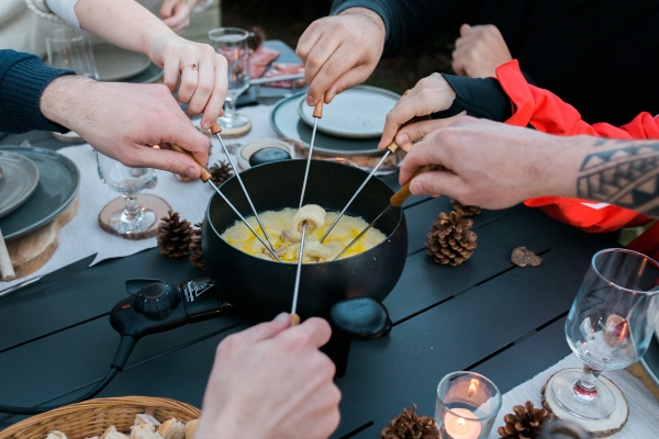 fondue in mountains