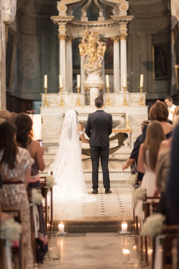 french church wedding with pronovias gown