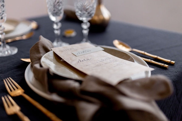 french minimalist black table setting