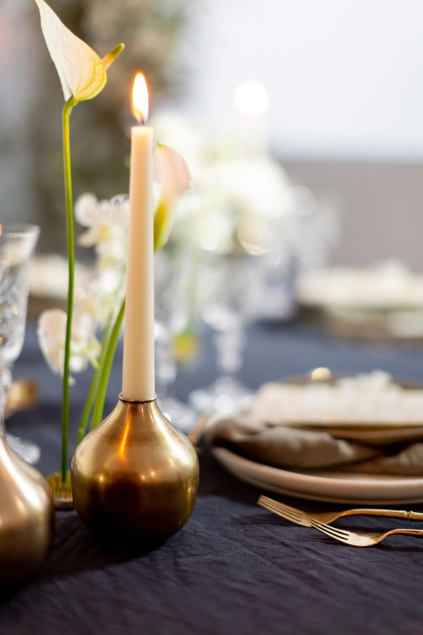 gold candlestick holder