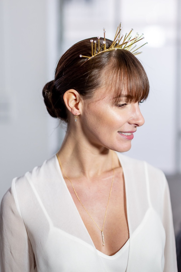 gold modern french tiara