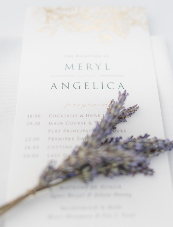 lavender wedding with stationery