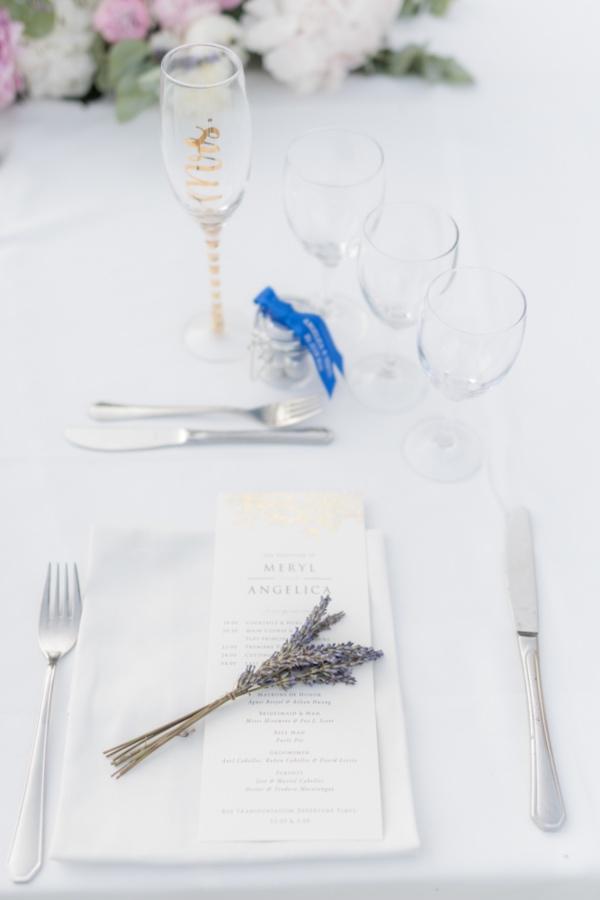 minimal lavender place setting