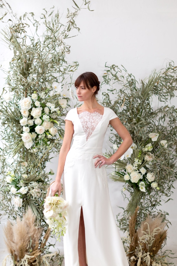 modern bridal gown with lace