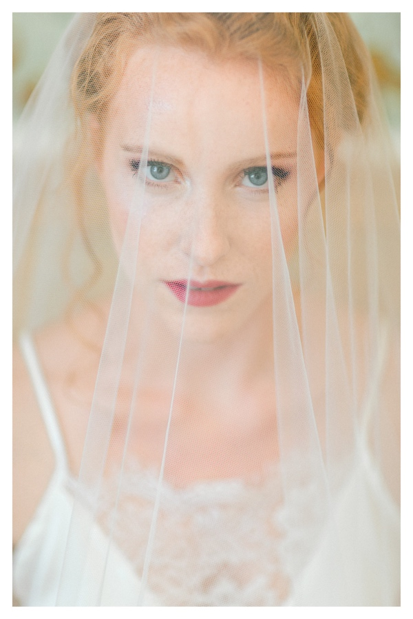 natural bridal makeup with veil